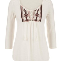 Embroidered Front Peasant Top With Ties - Beige