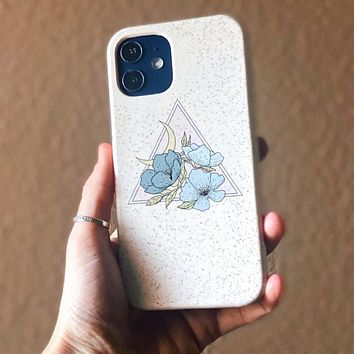 Celestial Moon And Poppies Biodegradable Phone Case