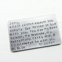 To my LOvE on Valentines Wallet Insert Keepsake Card - Valentines Gift - Create Your Own Message, Saying Or Quote - For Him or Her