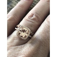 14K Rose Gold 3.2CT Round Cut Pink Morganite Russian Lab Diamond Halo Bridal Set