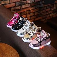 2018 Winter warm keep Lovely LED lighted children boots ankle fashion glitter girls boys shoes high quality baby kids sneakers