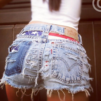 High waisted denim shorts Levi's American flag distressed frayed Hipster Grunge Gothic clothing