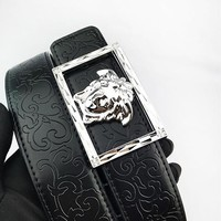 Versace casual embossed belt hot seller for both men and women Silvery buckle