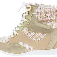 BETHANY17 NATURAL TWEED LACE UP SNEAKER WEDGE