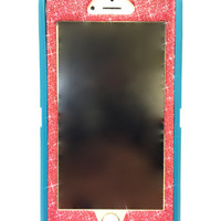 iPhone 6 (4.7 inch) OtterBox Defender Series Case Glitter Cute Sparkly Bling Defender Series Custom Case teal / red
