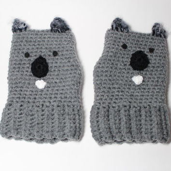 Kiddie Koala mittens/ Childrens animal gloves/ grey kids fingerless gloves/ kids accessories