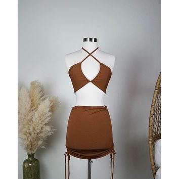 Ribbed Knit Halter Ruched Skirt Set in Brown