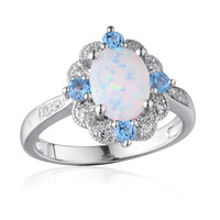 Oval Lab-Created Opal, White Sapphire and Swiss Blue Topaz Ring in Sterling Silver