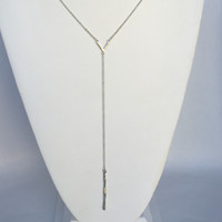 Two Becomes One Long Necklace - Silver