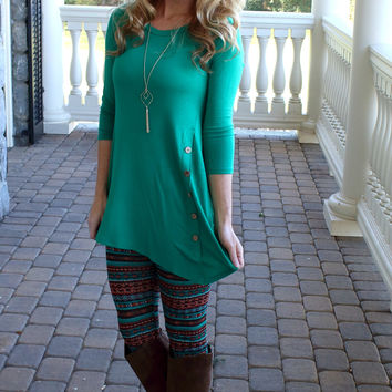 Make it A Great Day Emerald Button Top