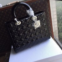 "Christian Dior LADY DIOR LARGE ""LADY DIOR"" BAG BLACK PATENT LEATHER"