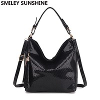 New Serpentine Leather Women Bags Luxury Crossbody Shoulder Bags Female Fashion Hobo Tote Top-handle Bags Purses and Handbags