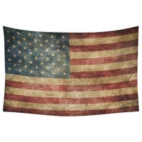 CHARMHOME Stars and Stripes USA Flag Wall Art Home Decor Vintage Retro American Flag Bule Red Tapestry Wall Hanging Blanket