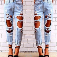 Sexy Straight Jeans Erotic Jeans Denims Trousers Pants  _ 8219