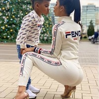 FENDI Trending Women Stylish Long Sleeve Knit Sport Sweater Jacket Trousers Pants Set Two-Piece White