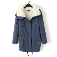 Promithi Womens Winter Parka Hooded Fur Collar Thick Padded Long Coat Outerwear Jacket (L, denim blue)