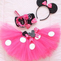 Gorgeous Minnie Mouse Cake Smash Birthday Outfit Tutu Set in Hot Pink 3 Piece for Baby Girl 6-18 Months First Birthday Pageant Dress