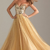 Long Gold Strapless Formal Party Dress homecomming party Gowns evening dress