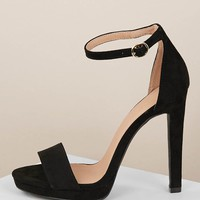 Solid Band Ankle Strap Low Platform Stiletto Heels
