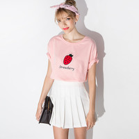 Pink Strawberry Letters Embroidered Short Sleeves T-Shirt