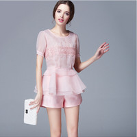 Pink Beaded Floral Embroidery Flounced Hem Top with Silk Short