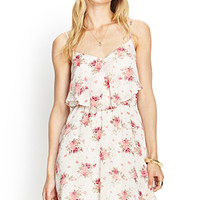 LOVE 21 Rose Print Cami Dress Beige/Coral