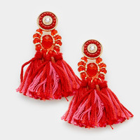 "2"" red fabric tassel fringe layered boho stone bead earrings"