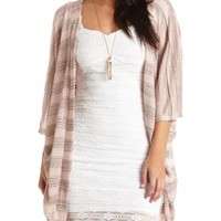 Sheer Striped Cocoon Duster Cardigan by Charlotte Russe - Blush Combo