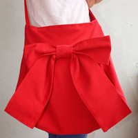 One Gift. Bags handmade  Lovely Bag in Red patterned everyday purse  special  only  for you