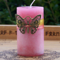 SOUL FLIGHT Bronze Filigree Butterfly Pillar by ArtisanWitchcrafts