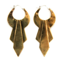 Teer - A Handcrafted Large Brass Statement Earrings