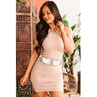 Krista Sleeveless Ruched Bodycon Dress (Taupe)