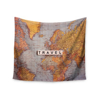 """Sylvia Cook """"Travel Map"""" World Wall Tapestry"""