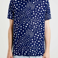 Navy Slim Fitted Hearts T-Shirt - Men's T-shirts & Tanks - Clothing