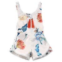 Cotton Newborn Kids Baby Girl Sleveless Lace Romper Lily printing Jumpsuit Clothes Sunsuit Outfits