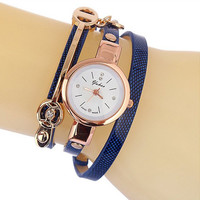 Women's Fashion Blue Leather Strap Bracelet Quartz Watch