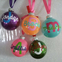 Monogrammed Ornaments - Glitter Ornament - Personalized Ornaments
