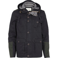 River Island MensNavy contrast panel hooded casual jacket