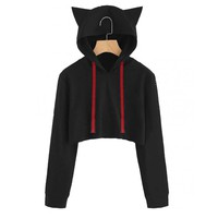 Cartoon Cat ears Hooded sweatshirt solid Red cap Long Sleeve short Hoodie Sweatshirt Hooded Crop Tops busos para mujer tumblr