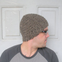 Mens Chunky Crochet Beanie Hat in Brown Tweed, wool blend, ready to ship.