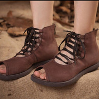 Handmade original Leather Shoes for Women Retro Flats,gladiator sandals, womens Sandals, Vintage style Leather Shoes,Personal Shoes