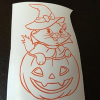 Cat in a Pumpkin Decal Any Color Any Size Halloween Disney Lover