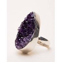 Amethyst Druzy Ring - One of a Kind - Adjustable