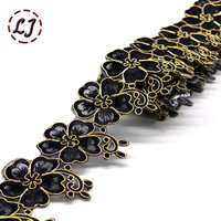 New fashion 1 yard 65mm embroidered colorful flower lace tape trim iron on patch sewing crafts Bohemia garment accessories DIY