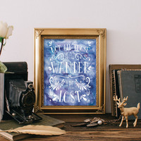 Not all who wander are lost quote prints home decor watercolor printable travel quote typography print teen room decor wanderlust BD-447