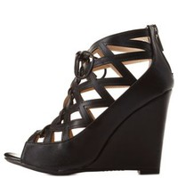 Bamboo Caged Cut-Out Lace-Up Wedges by Charlotte Russe