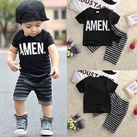 2pcs Children Toddler Kids Baby Boy T-shirt Tops + Short Pants Trousers Bottoms Fashion New 2016 Outfits Clothing Set Summer