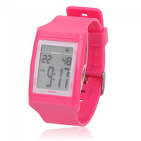 ALIKE Men Women Plastic Case Light LED Waterproof Digital Wrist Watch Rose Red - Default