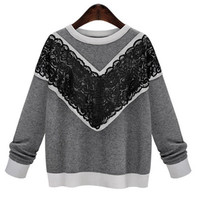 Plus Size Jewel Neck Long Sleeve Lace Spliced Loose Fitting Sweater