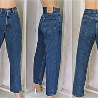 Vintage Levis 550 jeans 33 X 32 size 9 / 10 / LEVI'S  100% cotton / high waisted / relaxed fit / dark wash / tapered leg